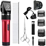 Everesta Dogs Cats Clippers,Rechargeable Cordless Home Professional Electric Pet dog cat Grooming Trimming Clippers Kit set (Red)