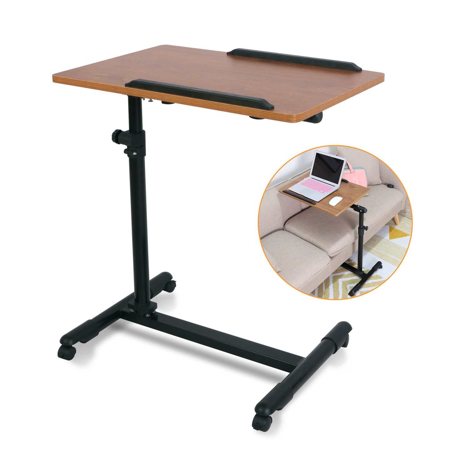 Ebuynar Adjustable Overbed Table Laptop Cart with Wheels (Updated,Dark Brown)