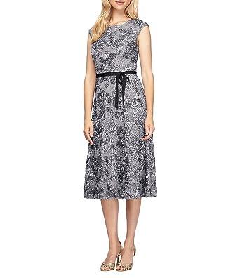 0176fd5789 Alex Evenings Petite Belted Rosette T-Length Dress at Amazon Women s ...