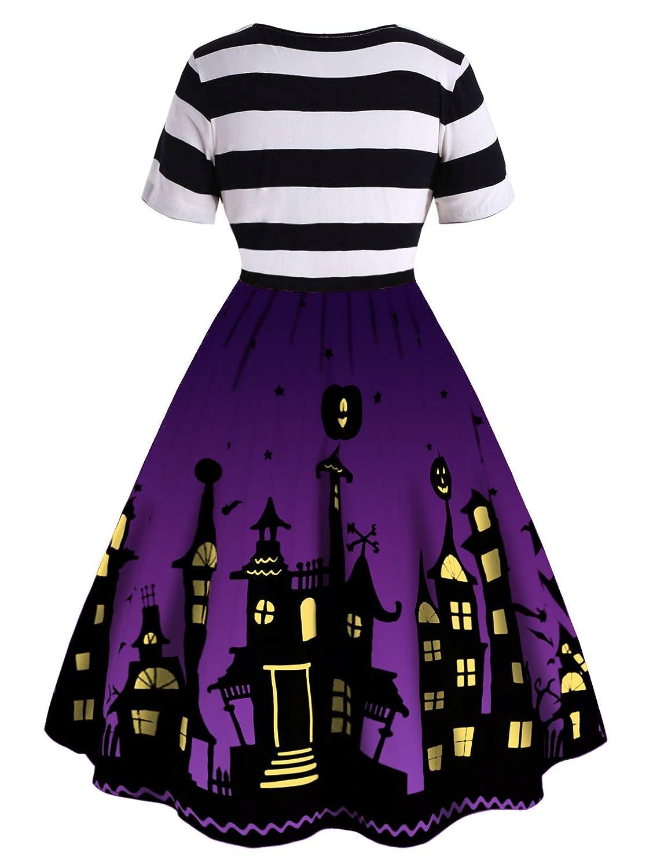 CharMma ROSEGAL Halloween Vestito Donna A Righe Linea ad A Taglie Forti Halloween Zucca Vestito Cocktail