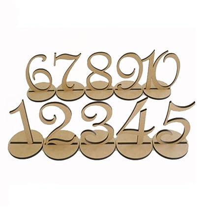 Pixnor 1 U2013 10 Numeri Di Tavolo In Legno Con Supporto Base Per Matrimonio  Compleanno Decorazione