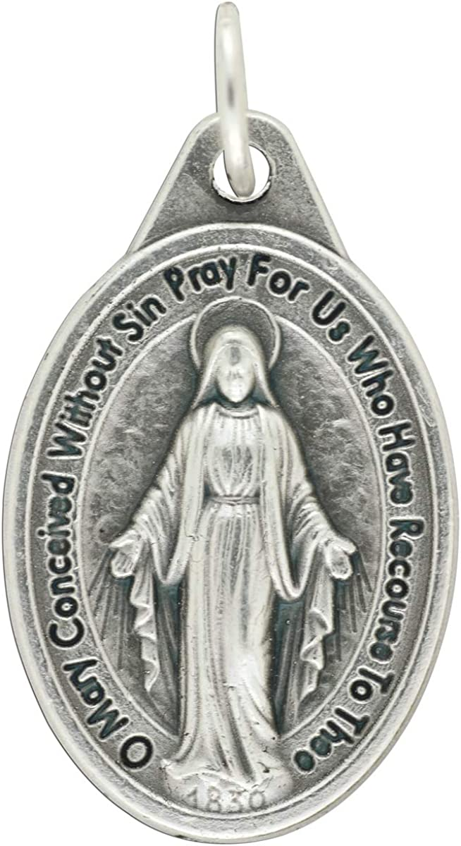 Gifts Catholic, Inc. Bulk Buy 10 Pcs - Miraculous Medal 1 Inch Lot of 10 Medals Rings Included - Mary Our Lady of Grace