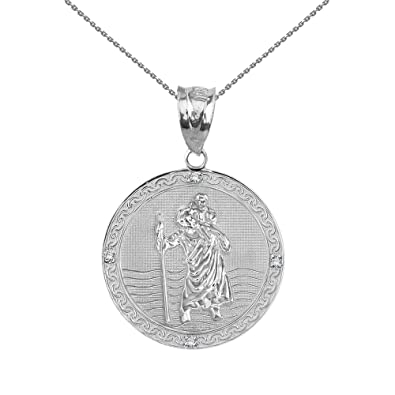 """69b77b8a6f4 Solid 10k White Gold Saint Christopher Diamond Round Medal Charm Necklace  (1""""),"""