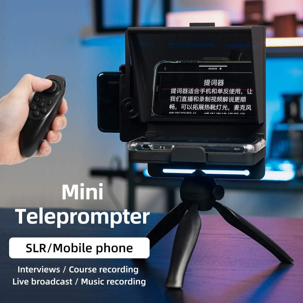 Grabador port/átil teleprompter con mando a distancia para grabaci/ón de tel/éfono y DSLR Teleprompter
