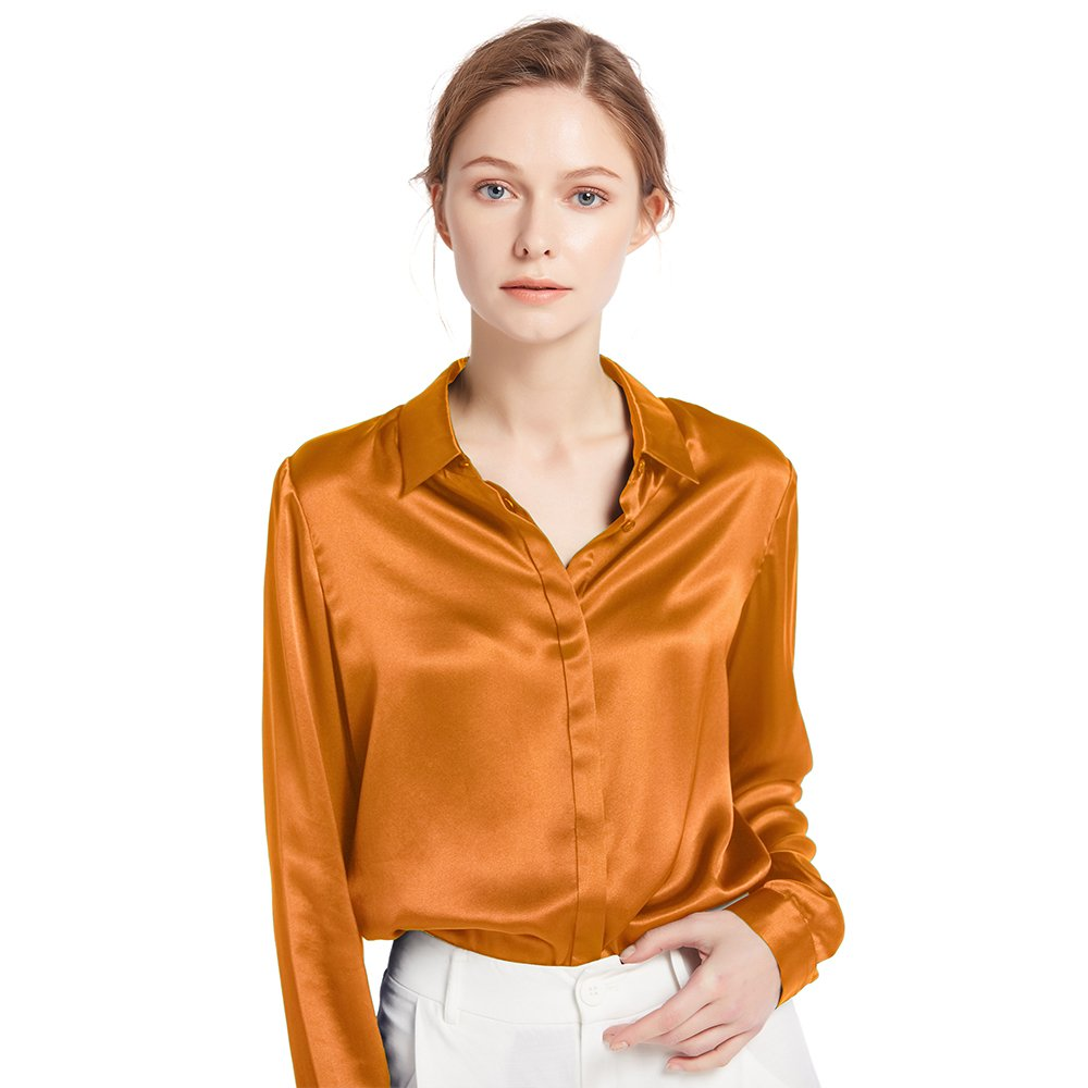 Caramel LilySilk Women's Silk Shirt 22 Momme 100% Pure Silk Button Down Tops Long Sleeves