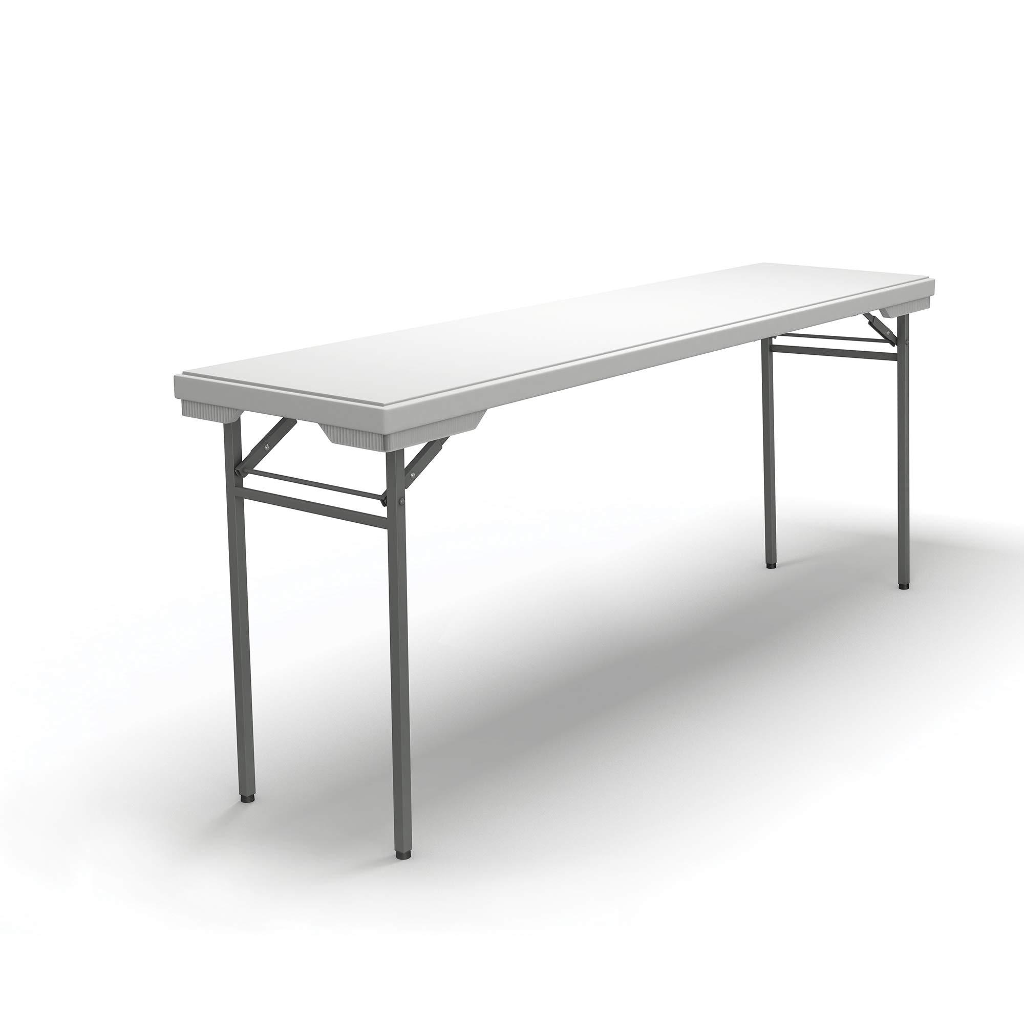 Mayline 721872DGWT Event Series Rectangle Folding Table 72W x 18D, White Top/Dark Gray Base