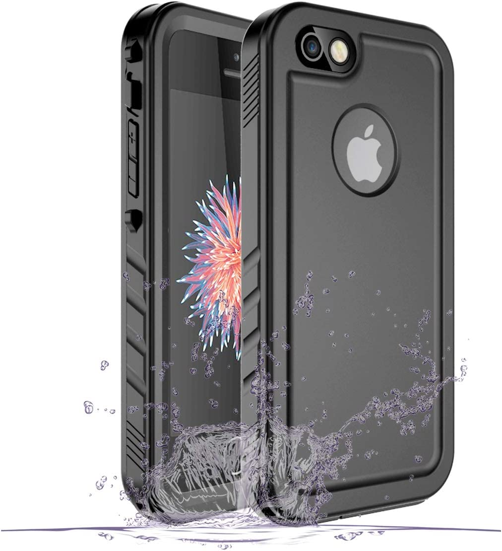 Cozycase iPhone SE/5/5S Waterproof Case, Waterproof iPhone SE Shockproof Full-Body Rugged Case with Built-in Screen Protector for Apple iPhone SE/5/5S -(Black)