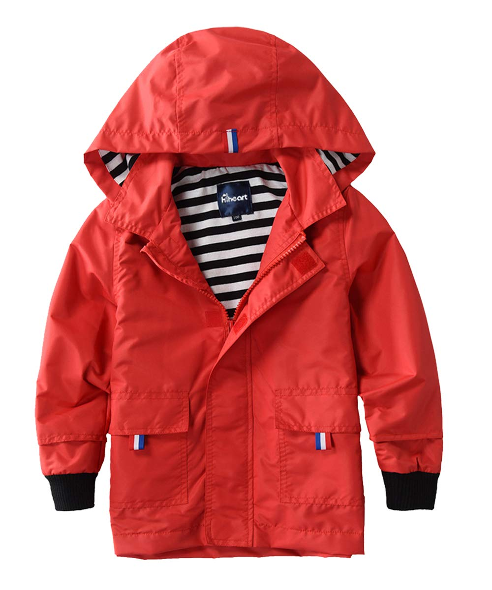Hiheart Boys Waterproof Hooded Jackets Cotton Lined Rain Jackets Red 3T