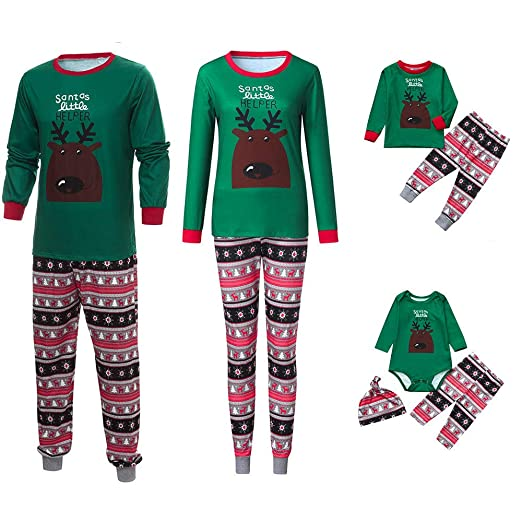 b1724a7ee2 Amazon.com  Family Pajamas Sets Matching Christmas Pajamas Xmas Snowflake Sleepwear  Sets Nightwear Adults Kids Pajama PJ Set Outfit  Clothing