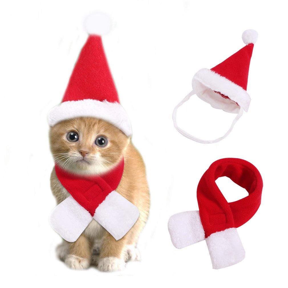 RuoShui Pet Dog Cat Santa Hat Adjustable Pet Christmas Holiday Santa Hat with Scarf Dog Costume Hats Pet Cat Holiday Apparel(Hat-L)