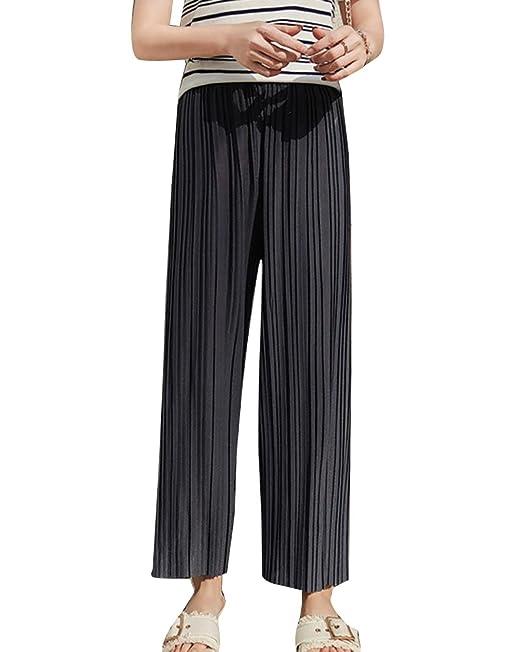 LaoZanA Sommerhosen Damen Elegante Plissierte Hohe Taille Chiffon Weite  Hosen Freizeithose Lockere Hose  Amazon.de  Bekleidung c258f713ae