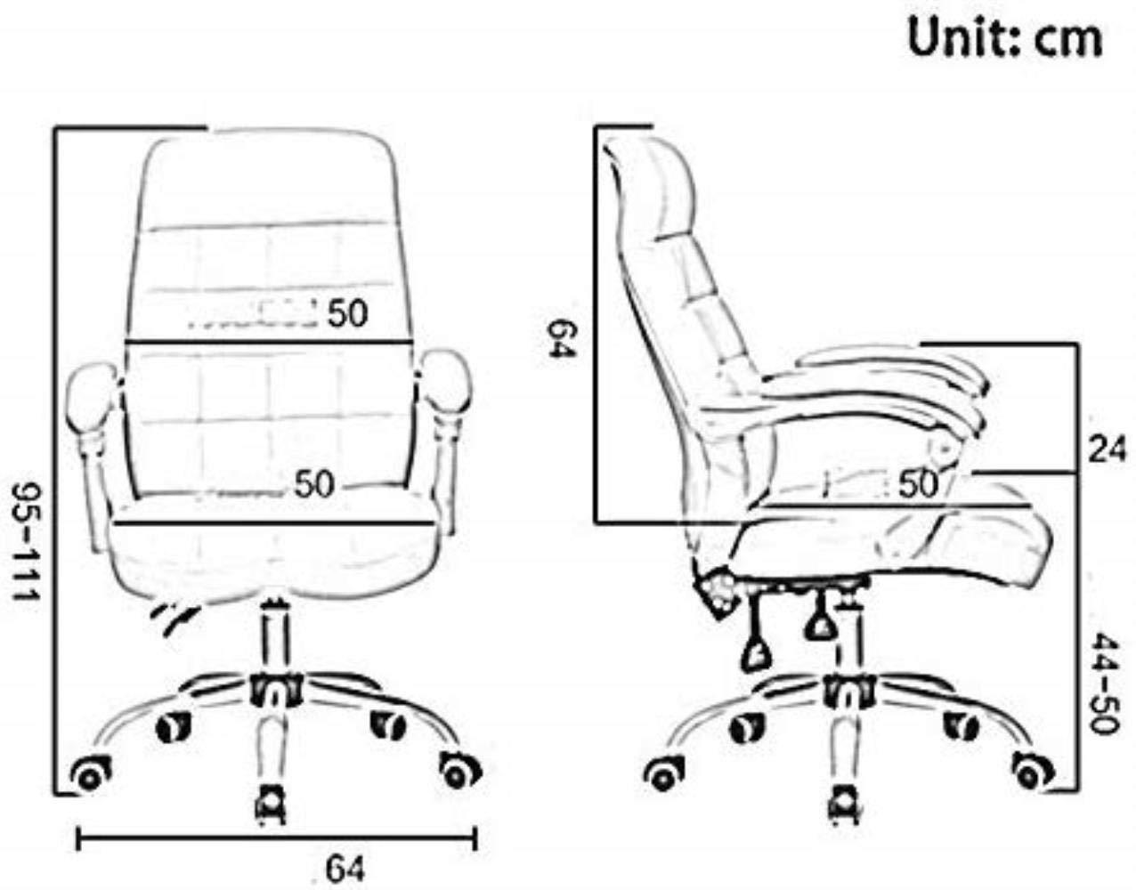 THBEIBEI Kontor Executive PU svängbar stol dator stol skrivbord racerstol med hög rygg stort säte och lutningsfunktion med utökad legstöd och vilstol (färg: Brun) Brun