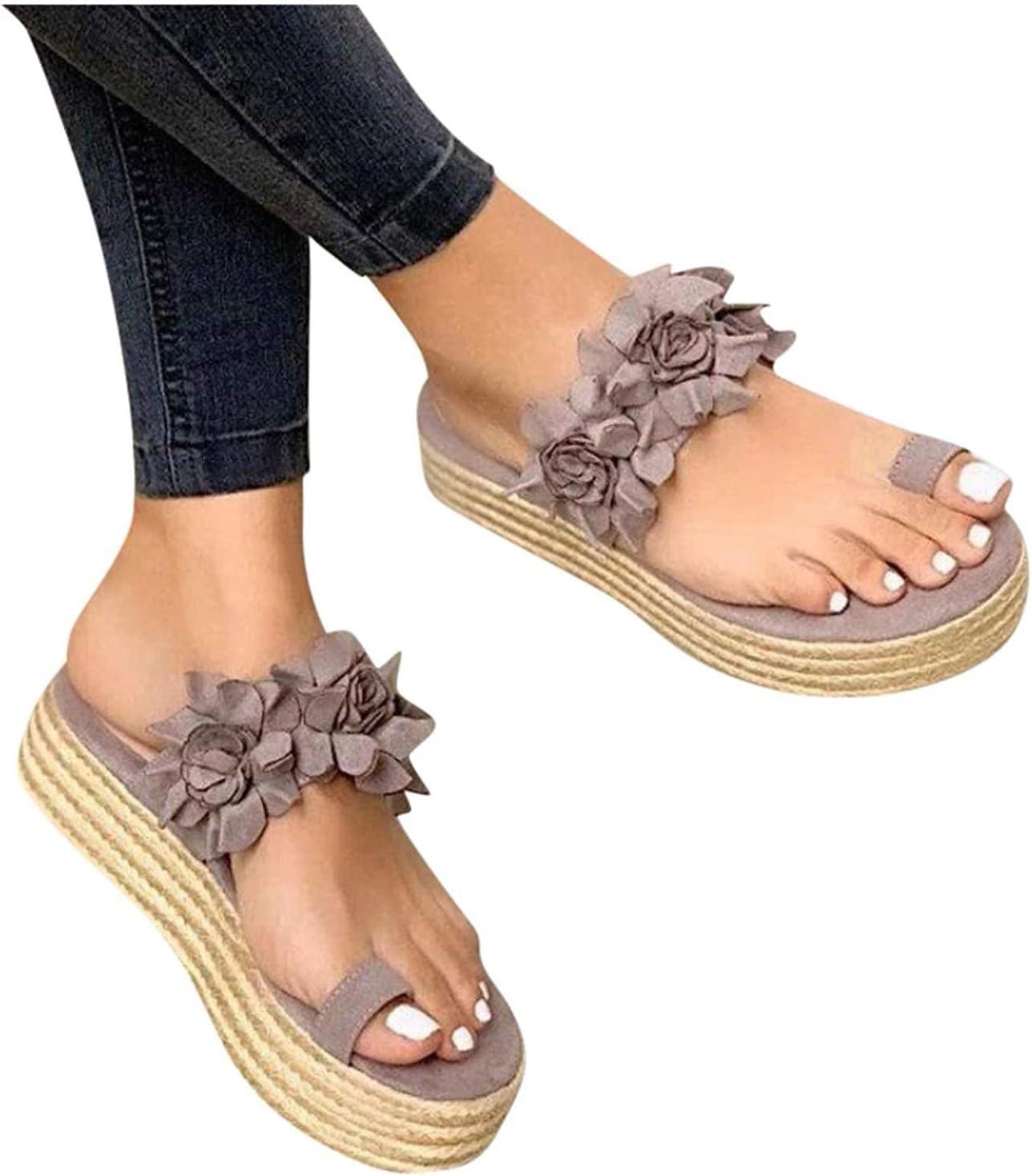 ZBYY WOMENS WEDGES 샌들 발가락 반지 웨지 슬리퍼 플랫폼 편안한 산책 신발 편안한 플립 플롭 검투사 샌들
