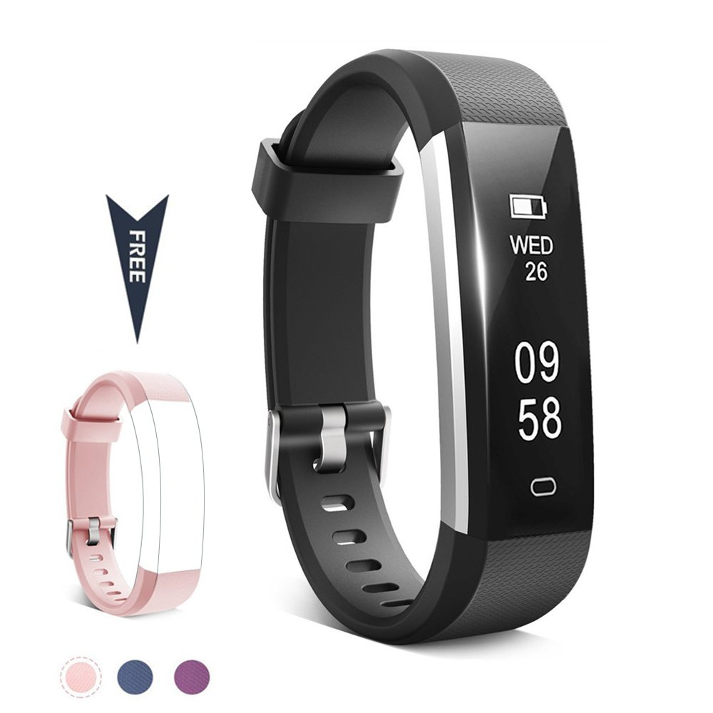 TwobeFit Fitness Tracker, Waterproof Activity Tracker with Sleep Monitor Pedometer Step Counter Smart Watch Bracelet Bluetooth Wristband for Kids Women Men for Android/iOS Cellphone (B-Pink)