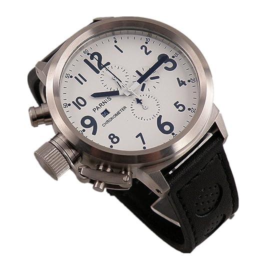 PARNIS 50 mm whie Dial Japón movimiento de cuarzo cronógrafo hombres reloj de la mano izquierda viento: Amazon.es: Relojes