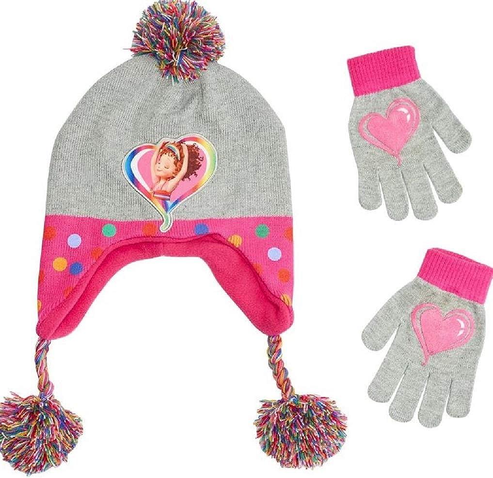 Fancy Nancy Girls Knit Winter Hat and Mitten Set Rainbow Little Girl Toddler