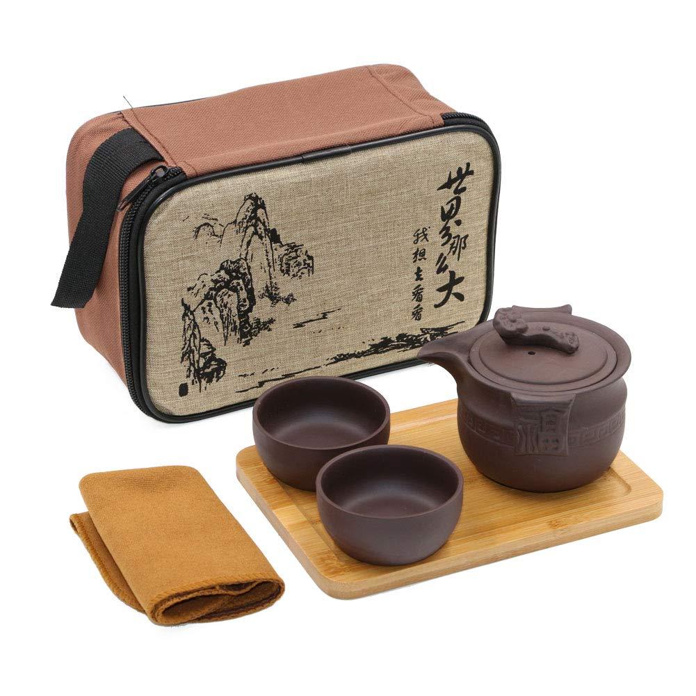 Portable Travel Kungfu Zisha Tea Set, Handmade Purple Clay Teapot& 4 Teacups, Traditonal Chinese( Animal Style) T Tocas BKTS626-PA