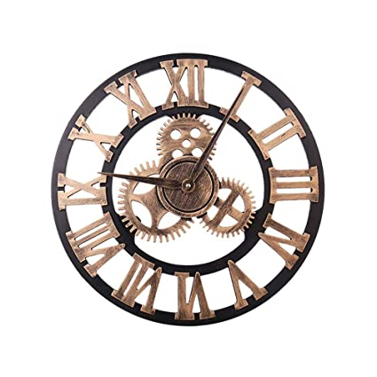 Layopo 3D Vintage Gear Wall Clock, Non-Ticking Wood Wall Clock, Battery Operated