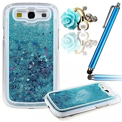 Vandot 3D Creative Sparkly Liquid Glitter Design G530 Liquid Quicksand Bling Adorable flowing Floating Moving Shine Glitter Case for Samsung Galaxy Grand Prime G530 + Blue Rose Anti Dust Plug - Blue