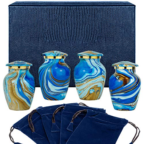 Ocean Tides Beautiful Small Keepsake Urn for Human Ashes - Set of 4 Urns - Find Comfort with These Keepsake Sharing Urns Beautiful Deep Blue and Brown Earth Tones - With Satin Lined Case and 4 Pouches