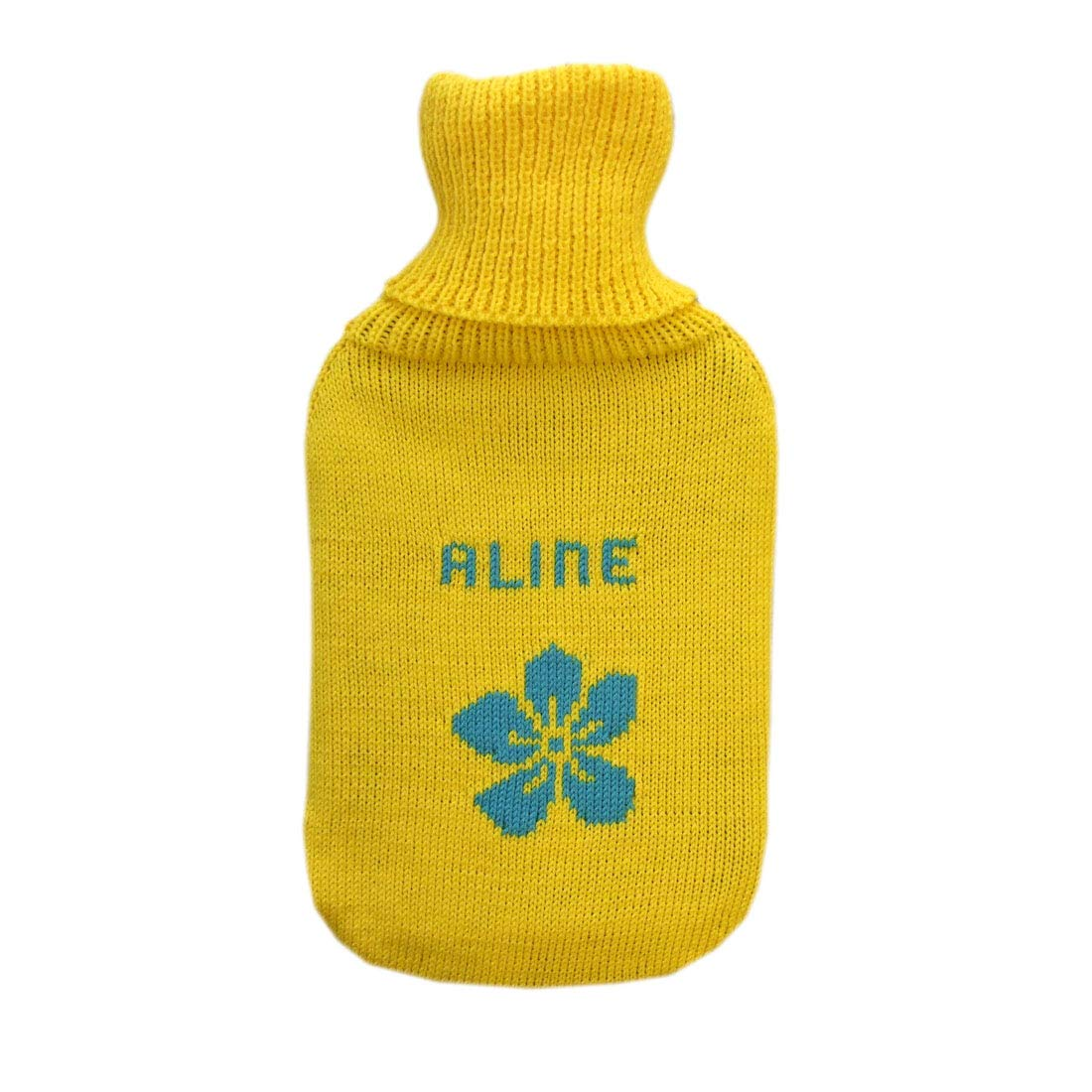 Personalized Hot Water Bottle 100% Merino Wool Knitted Rubber Hotty (Yellow-Aqua Blue with Flower) by tevirP