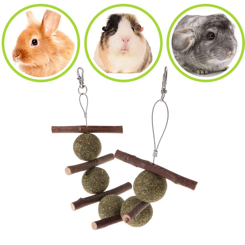 Jiamins Jouet Petits Animaux Jouets Lapin Hamster Accessoire Balle d'herbe Jouets à mâcher