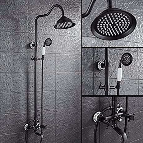 SJQKA Shower Head Shower European Copper Shower Shower Rain Shower Retro Black Dark Suit A