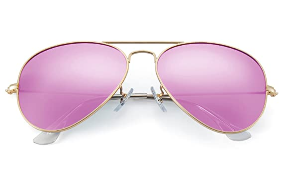 5b4ae1afd2 Amazon.com  YuFalling 2nd Generation Polarized Aviator Sunglasses for Women  and Men (gold frame red pink lens
