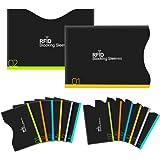 Aerb カードケース RFIDスキミング防止 12クレジットカードケース+2パスポートケース (14セット黒)