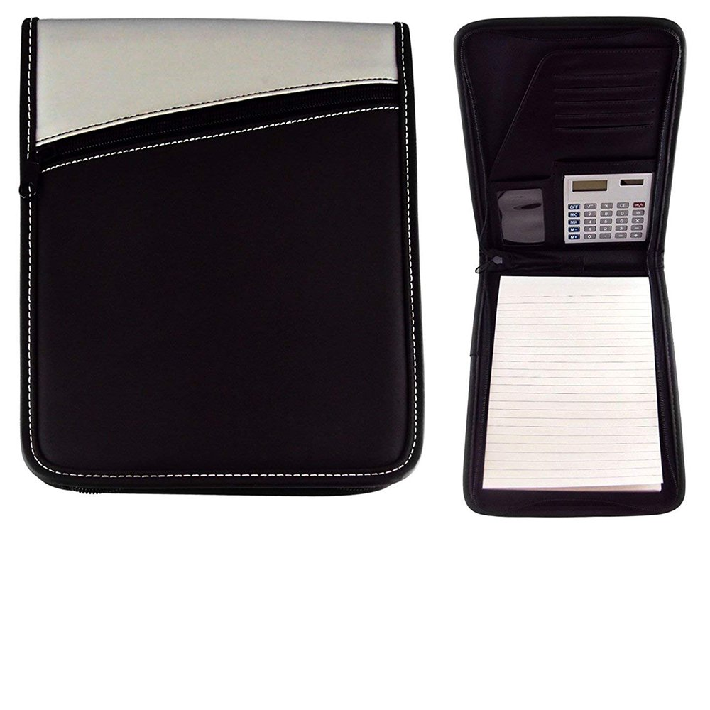 Jotter Calculator Padfolio with Pen, Silver/Black, School, Office, Travel.