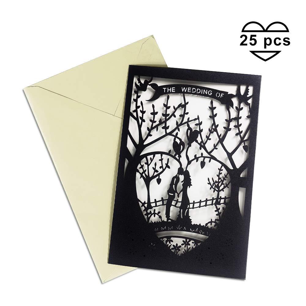 Amazon Laser Cut Printable Wedding Invitation Kits 25pcs 47'' X 7'' Black Love Tree Invitations Cards With Paper And Envelopes For: Blank Wedding Invitation Invitation At Websimilar.org