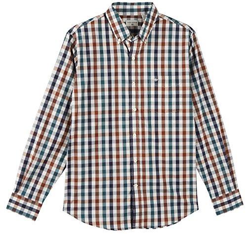 Dockers Men's Comfort Stretch Soft No Wrinkle Long Sleeve Button Front Shirt, Pembroke Navy Gingham, - Pembroke Shops