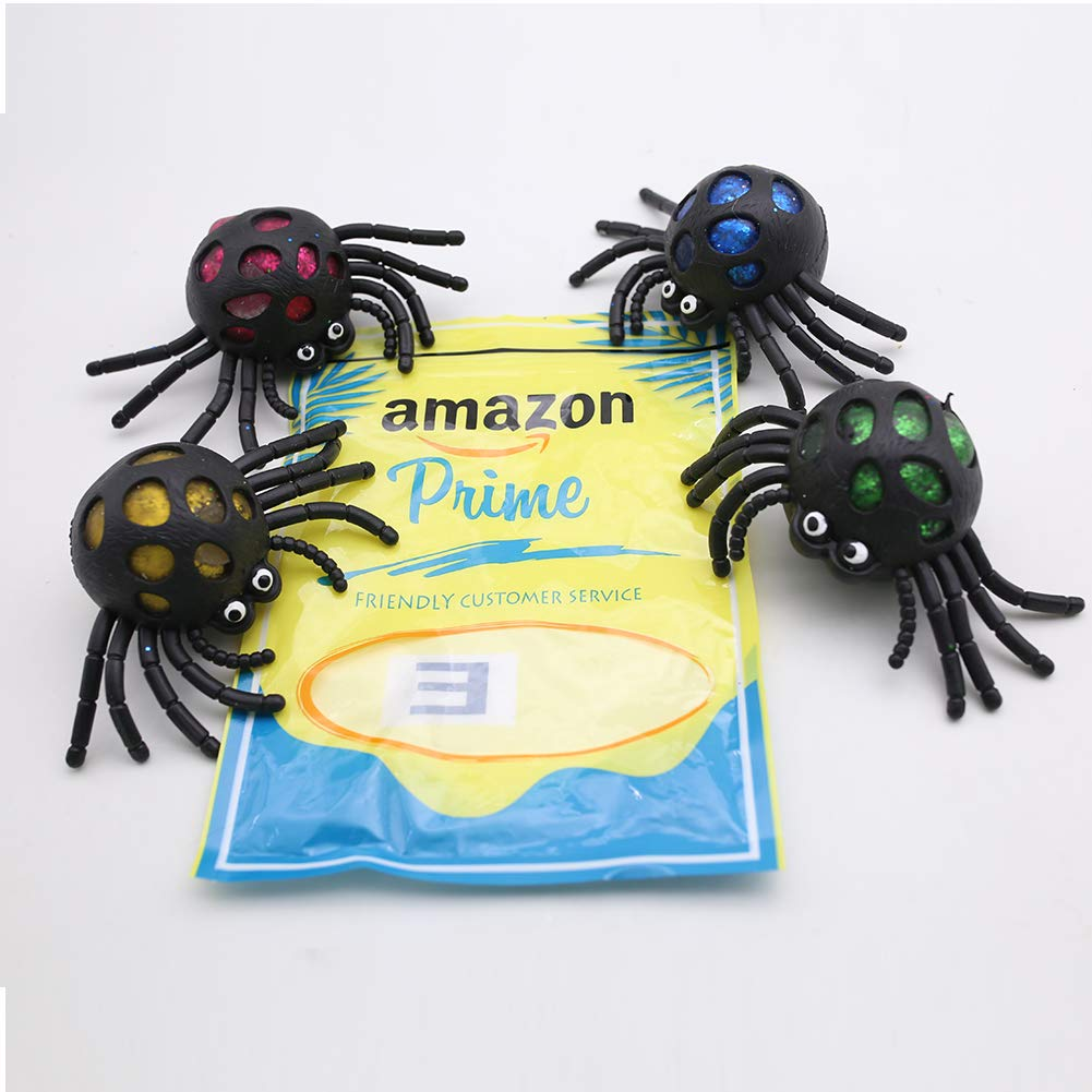 POPLAY Squishy Ball/Vent Toys/Slime Stress Ball/Anti Stress Toys,Spider Ball,4 PCS