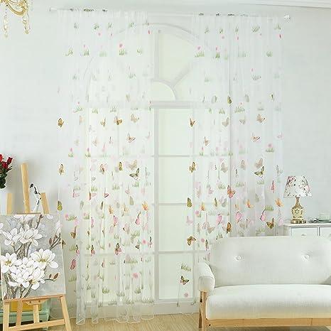 eb798e9559 AAA226, tenda con romantico motivo a farfalle, in tulle; tenda per finestra,