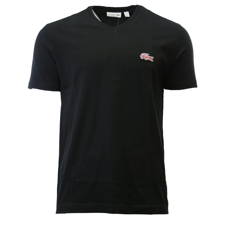 Lacoste Mens Short Sleeve Jersey Regular Fit V Neck Caviar Croc T-Shirt