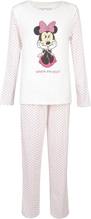 e5bb01d43d Ladies Pyjama Set Long Sleeve TOP Night WEAR 8-22 Minnie Mouse Cream   Amazon.co.uk  Clothing