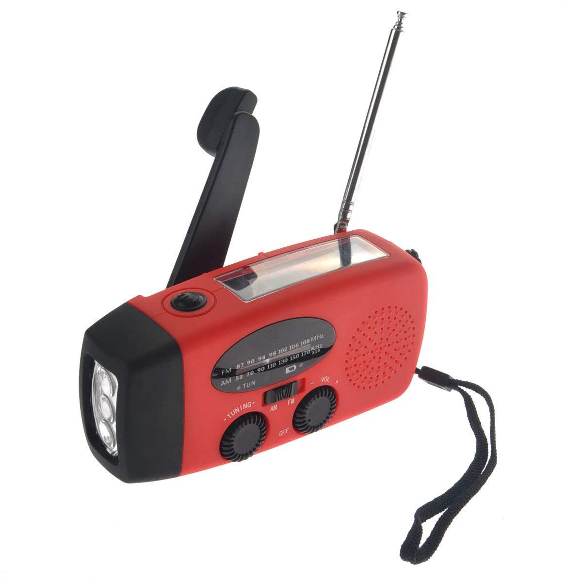 VOSAREA Emergency Solar Crank AM FM Camp Radio with LED Flashlight USB Output Port(Red) by VOSAREA (Image #2)