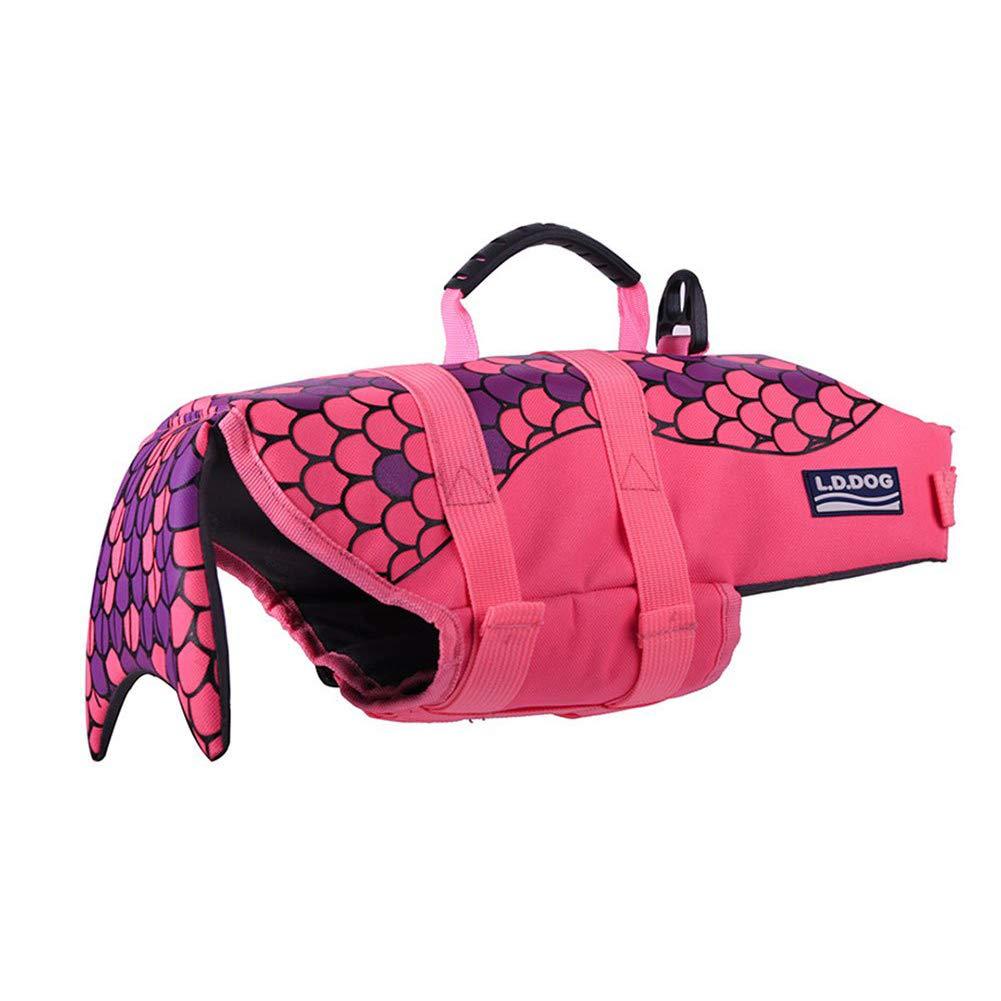WLDOCA Dog Life Vest - Sporty Style - Tear-Off Material - Excellent Buoyancy & Safety Grip,Pink,S