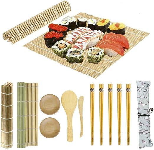BambooWorx Sushi Making Kit New Rice Paddle,.. Includes 2 Sushi Rolling Mats