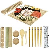 Sushi Making Kit, Beginner Sushi Rolling Mat for DIY Sushi, Includes 2 Bamboo Roller Mats, 1 Rice Paddle, 1 Rice Spreader, 5 Pairs Chopsticks, 2 Plates, 1 Canvas Chopstick Bag