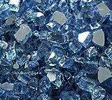Fireglass Fireplace Fire Pit Glass, ~1/4″ Pacific Blue Reflective L, 10 LBS