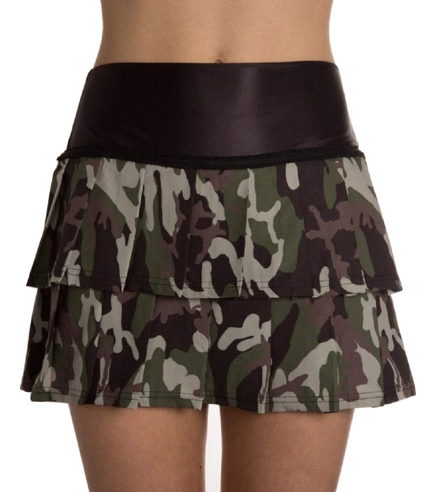 Faye+Florie Lisa 2 Tier Tennis Skirt (Camo, X-Small)