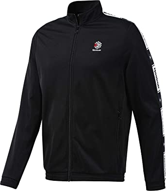 dd97a9fc559 Reebok Cl Taped Track top Men Black  Amazon.co.uk  Clothing