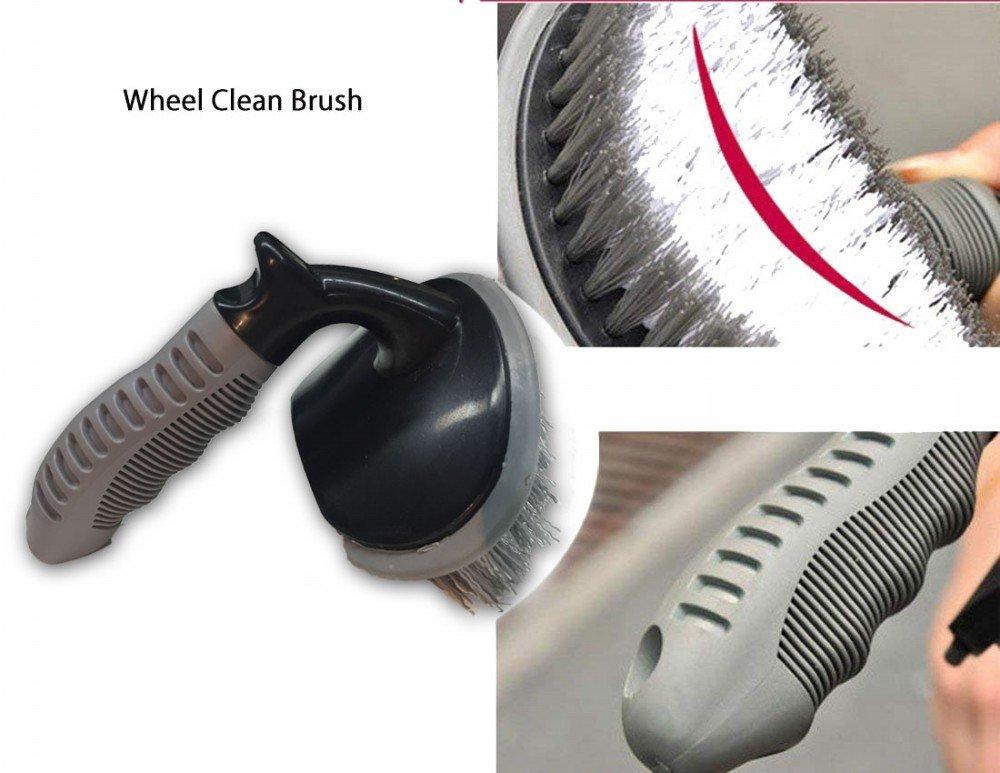 Ungfu Mall in materiale antigraffio. strumenti per la pulizia di pneumatici e cerchi in lega dell/'auto set di 3 spazzole antigraffio con setole morbide