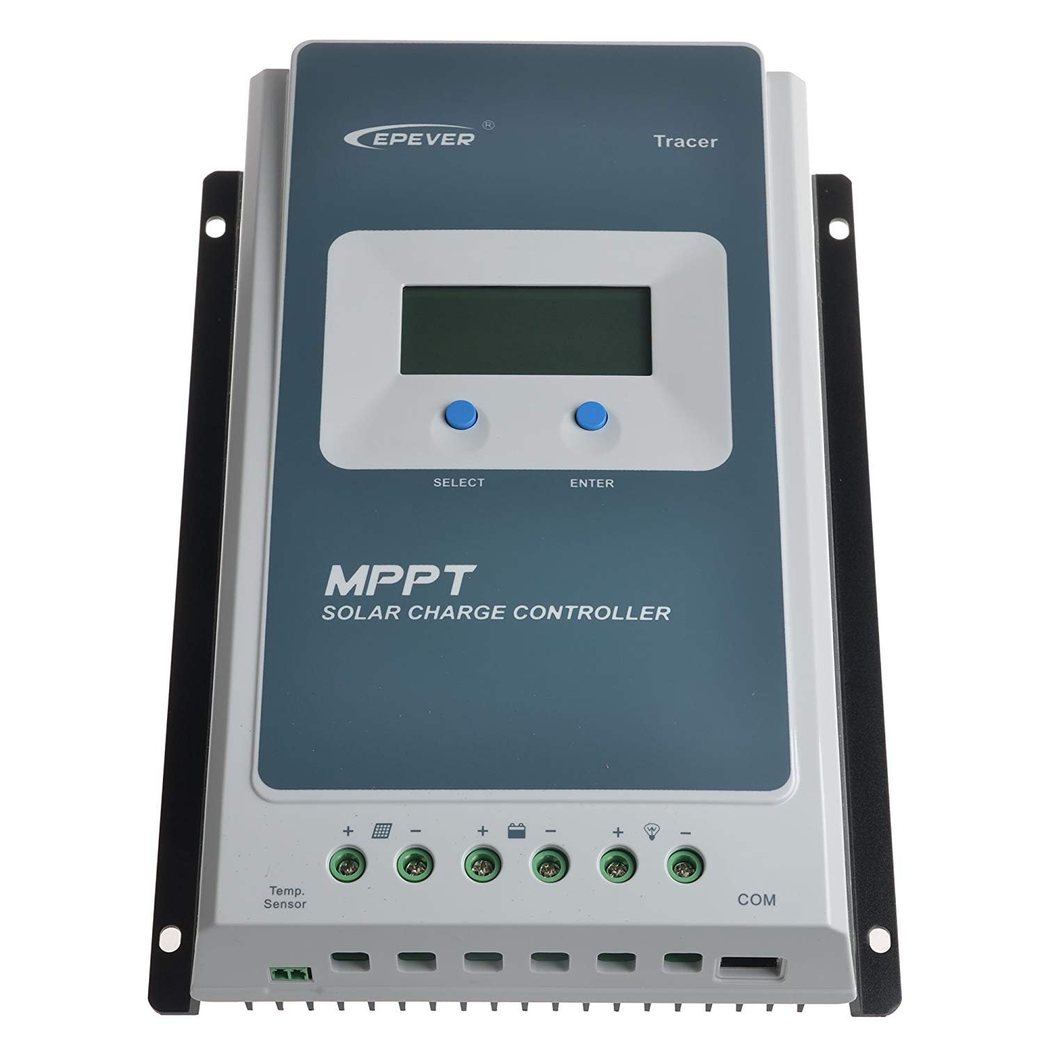 Y H EPever MPPT 30A Solar Charge Controller Black-Light LCD Solar Regulator for 12V 24V Lead Acid Lithium-ion Batteries