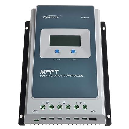 Y&H EPever MPPT 30A Solar Charge Controller Black-Light LCD Solar Regulator  for 12V 24V Lead Acid Lithium-ion Batteries
