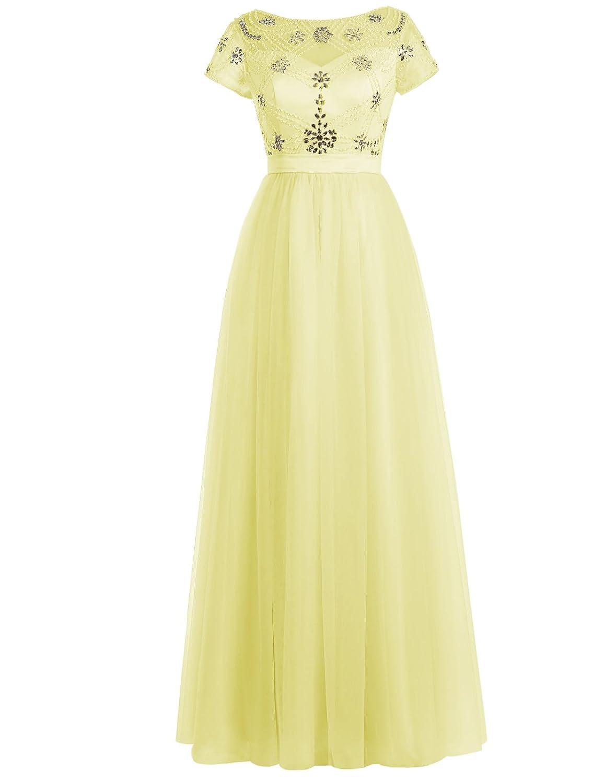 Wedtrend Damen Elegant Tüll kurzer Ärmel Prom Kleid lang ...
