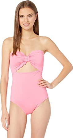 31932bd4a7083 Kate Spade New York Women's Core Solids Scalloped Cut Out Bandeau One-Piece  Meadow Pink