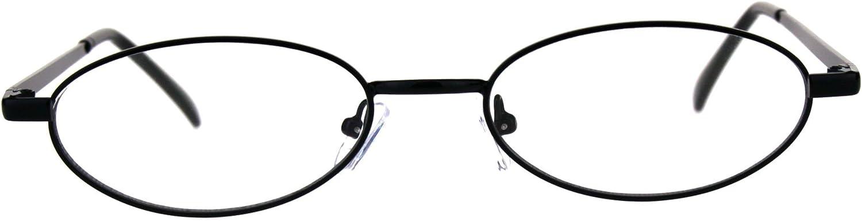 Extra Narrow Oval Metal Rim Round Retro Vintage Clear Lens Eye Glasses