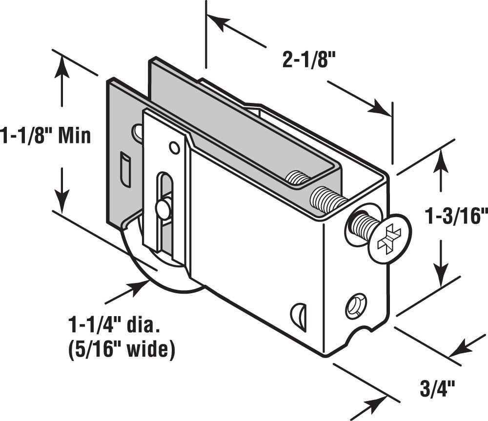 Prime-Line Products D 1762 Sliding Door Roller Assembly with 1-1//4-Inch Steel Ball Bearing